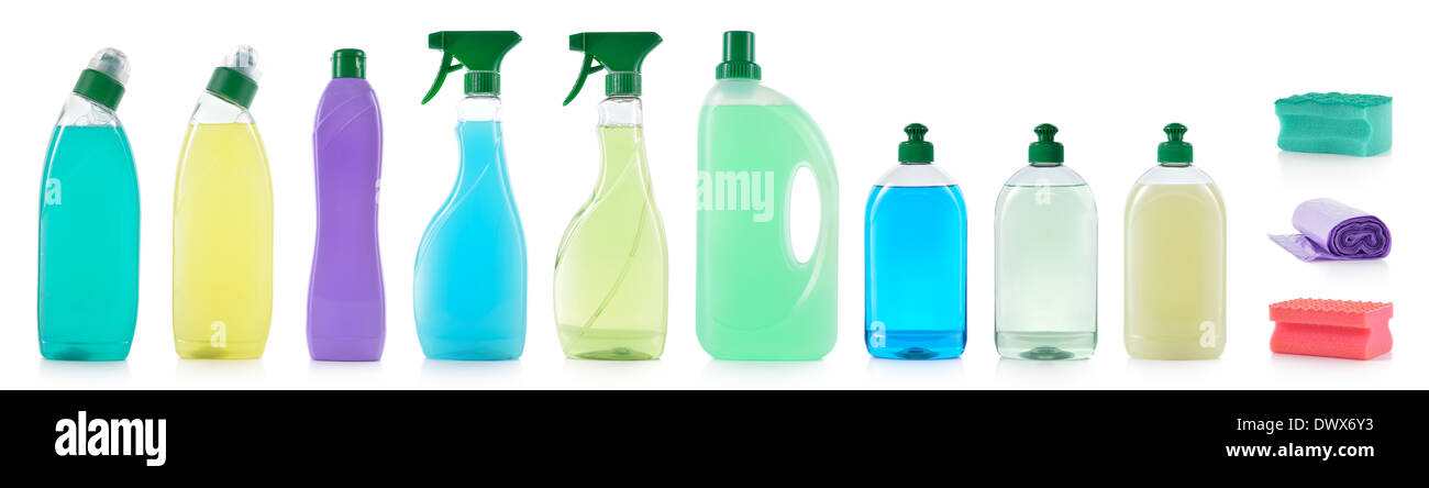 Set of cleaning products. Spray cleaner, WC cleaner, washing liquid, cream cleaner, sponge and roll of garbage bag isolated. - Stock Image