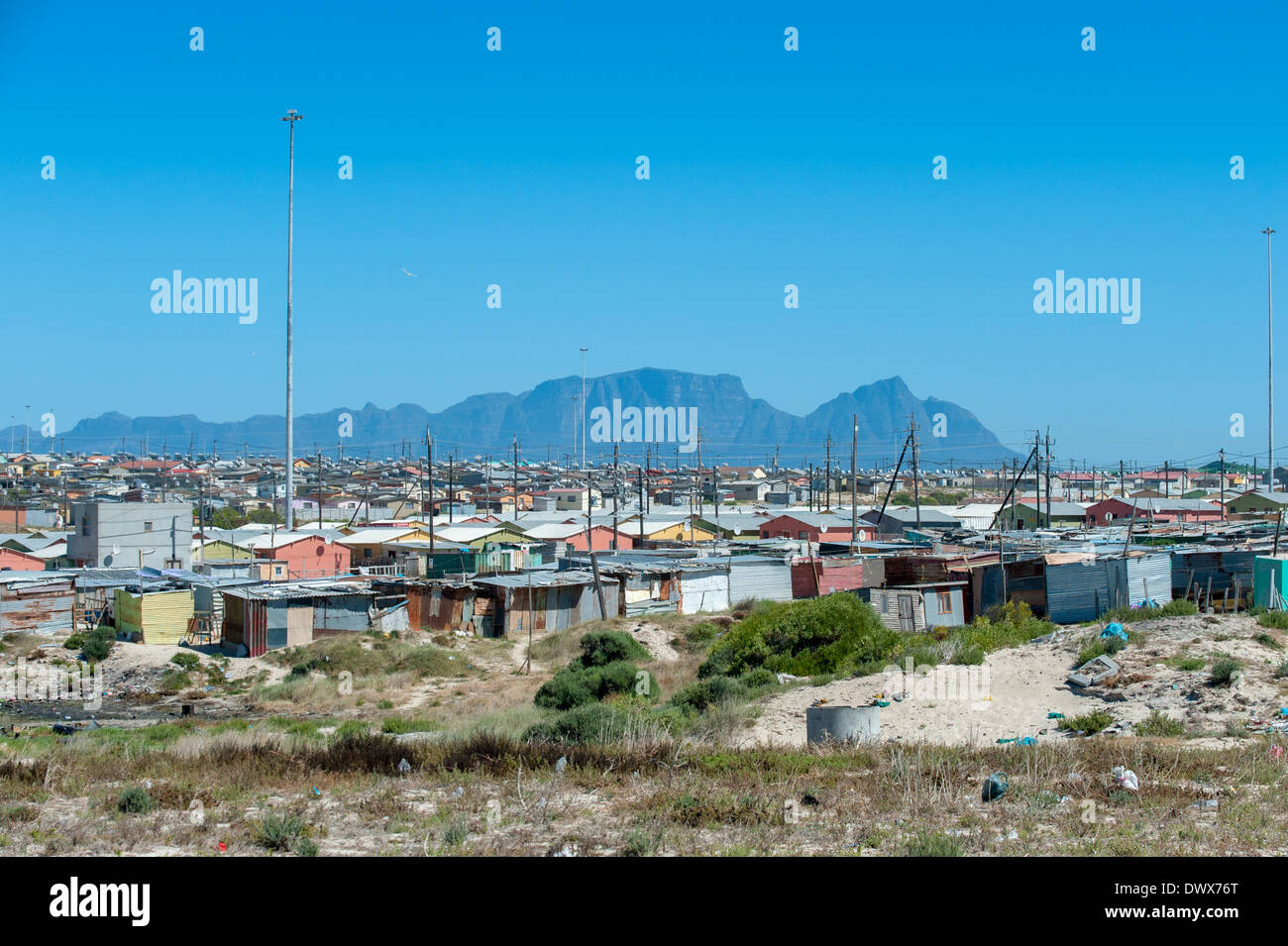 Panoramic view over corrugated-iron huts in Khayelitsha, Cape Town, Western Cape, South Africa - Stock Image