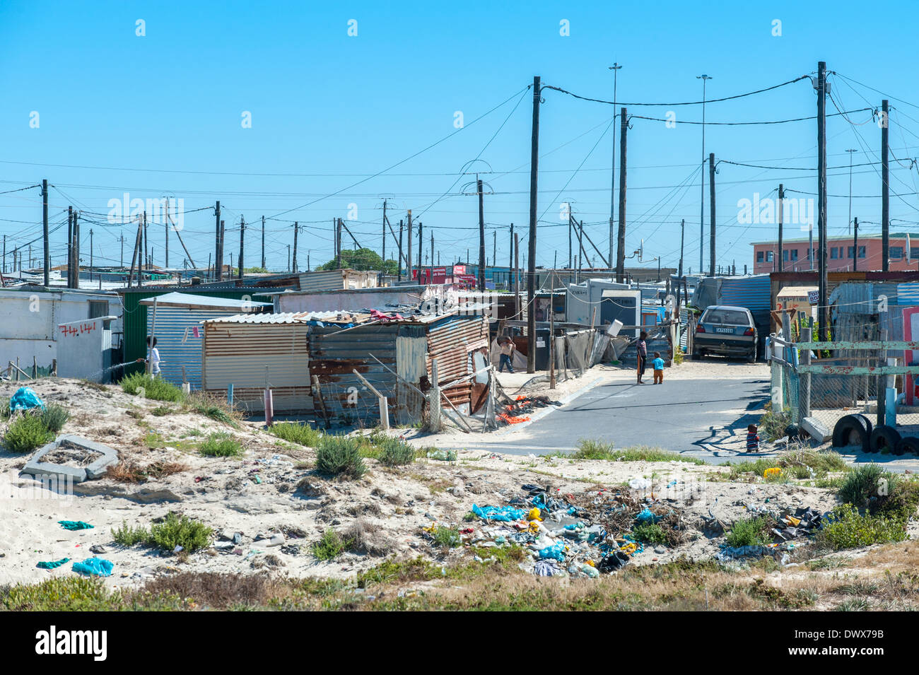 Street ending at a rubbish dump, Khayelitsha, Cape Town, Western Cape, South Africa - Stock Image