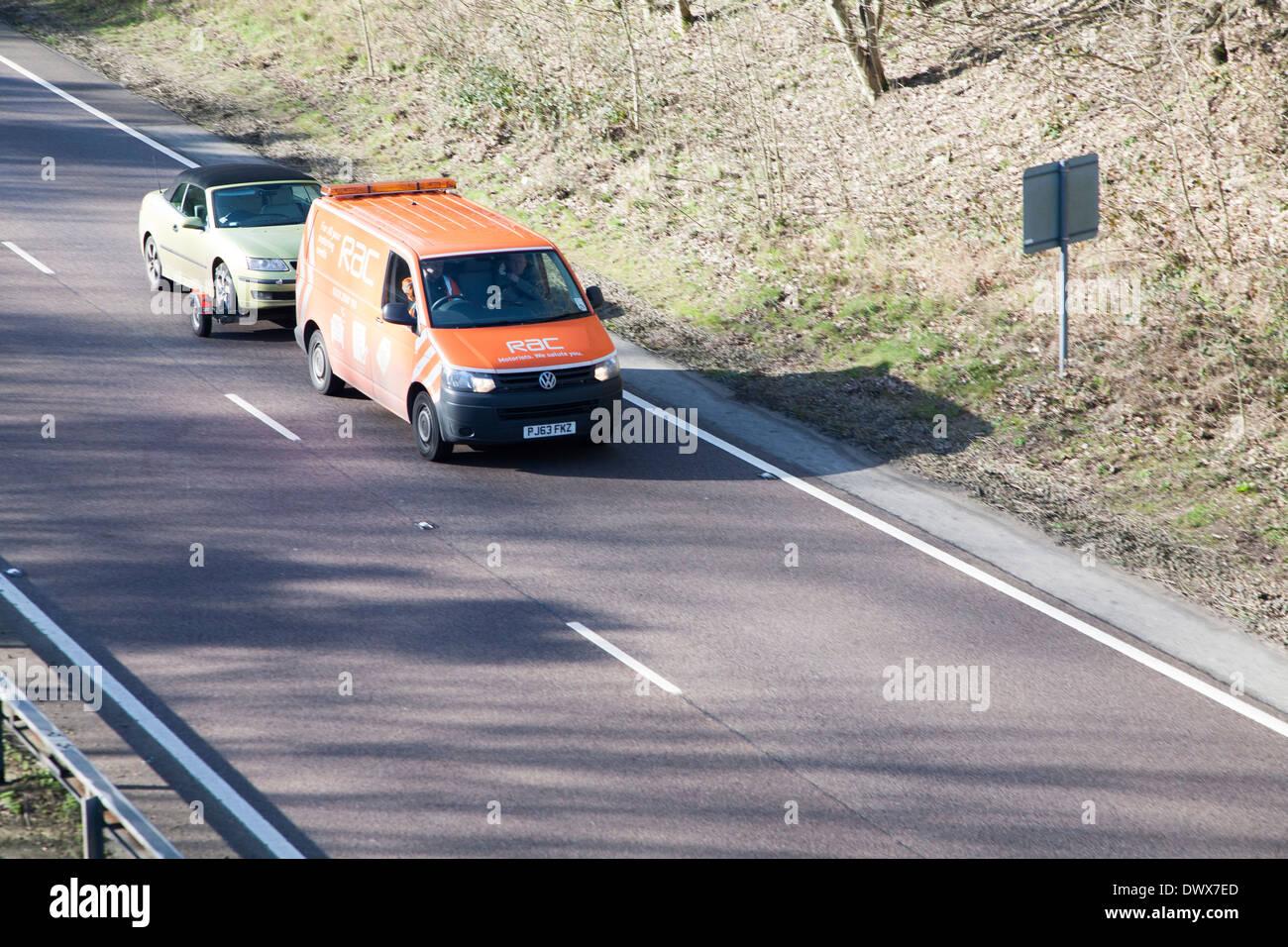 RAC breakdown service transporting broken down car, UK - Stock Image