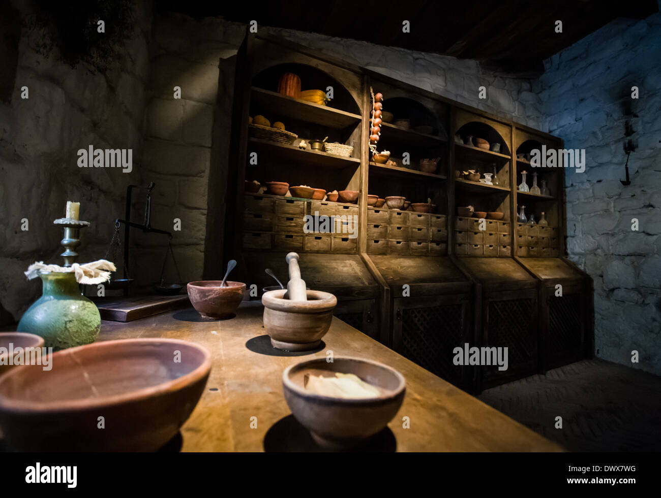 Interior recreation of an apothecary workshop Stock Photo
