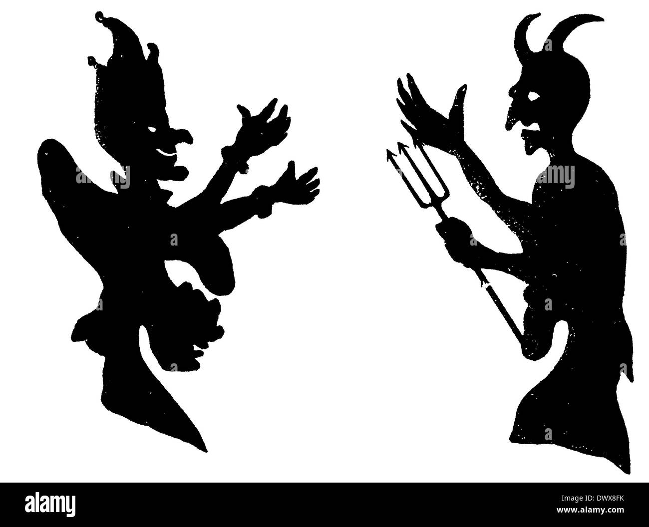 Shadow Play: Kaspar and the Devil - Stock Image