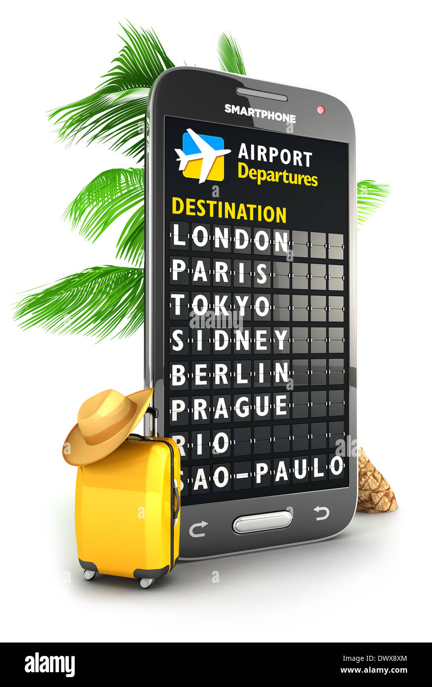 3d smartphone airport board, isolated white background, 3d image Stock Photo