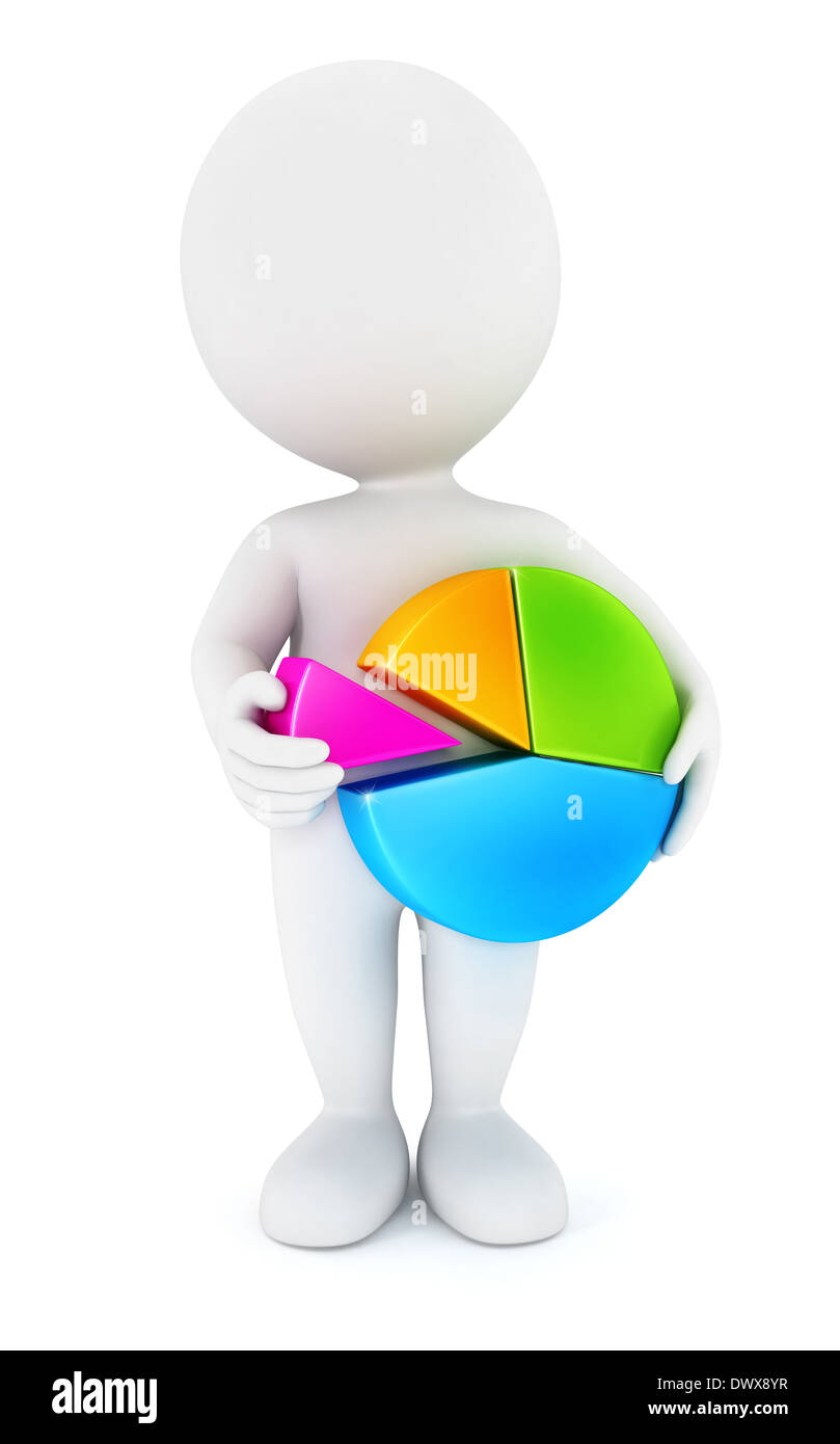 3d white people holding a chart pie, isolated white background, 3d image Stock Photo