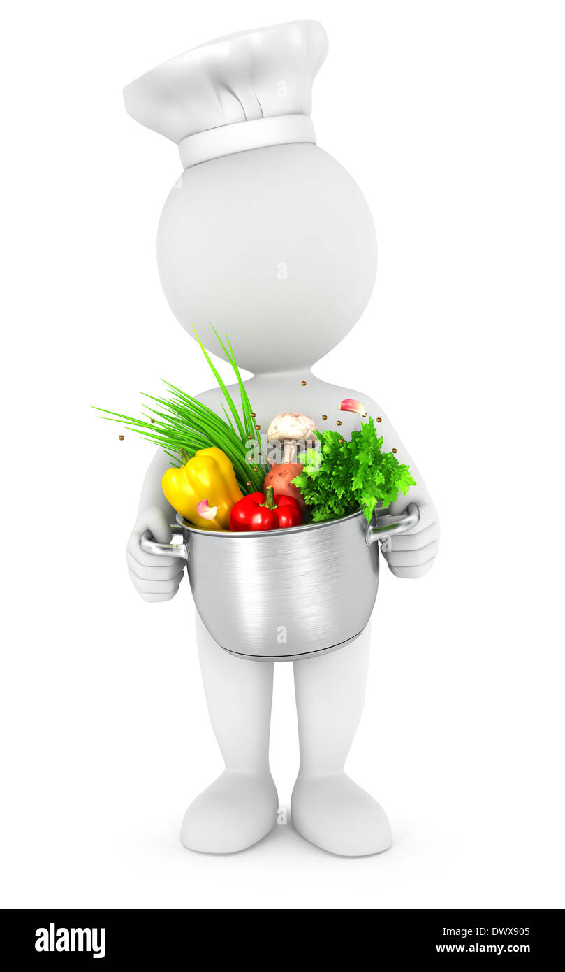 3d white people with cooking pot, isolated white background, 3d image Stock Photo