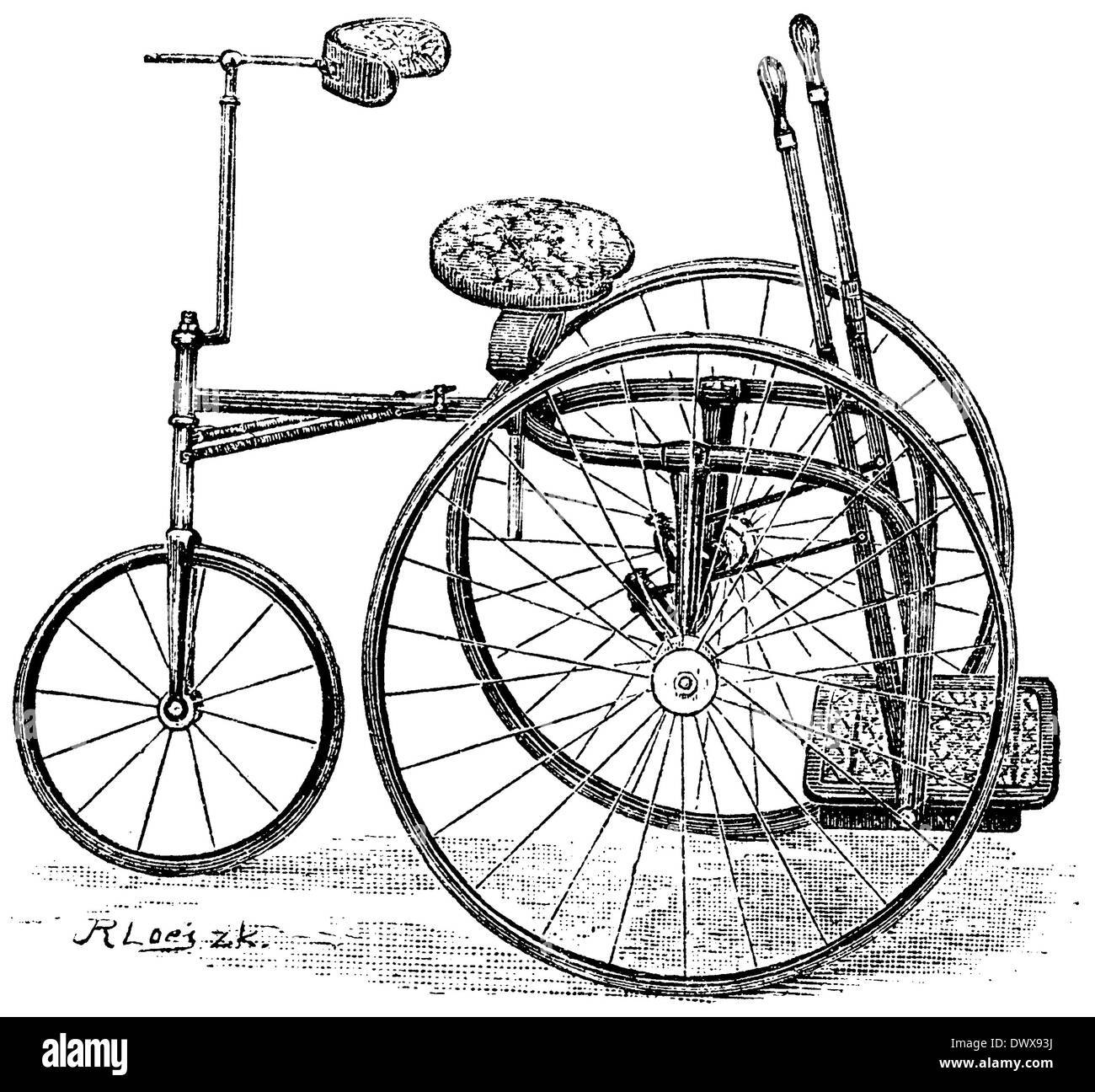 hand-operated tricycle - Stock Image