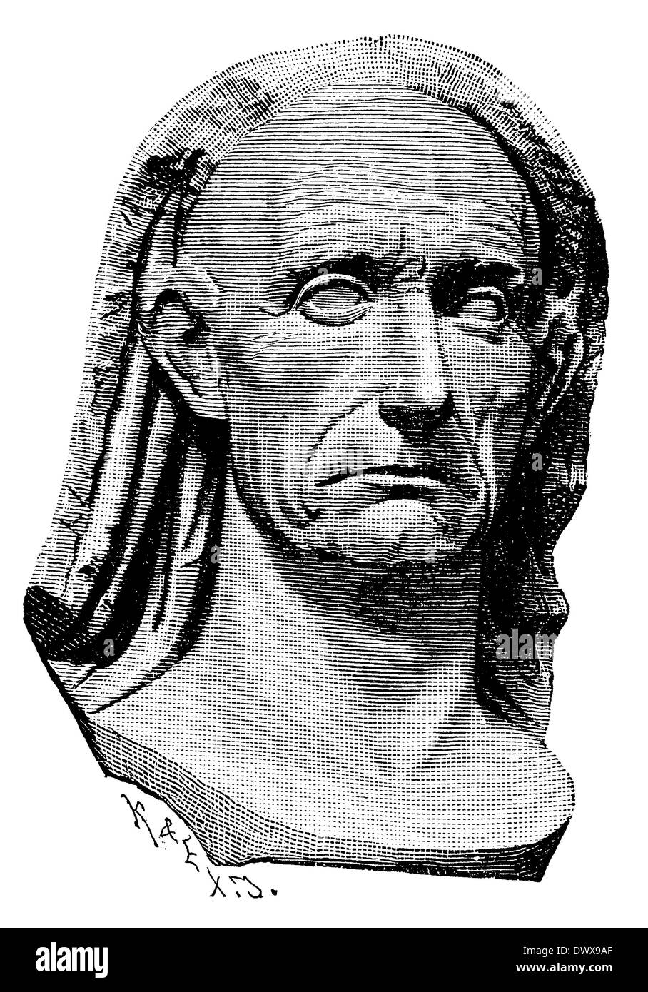 Gaius Julius Caesar (13 July 100 BC - March 15, 44 BC), Roman statesman, general and author, adoptive father of Augustus, marble bust in the National Museum at Naples - Stock Image