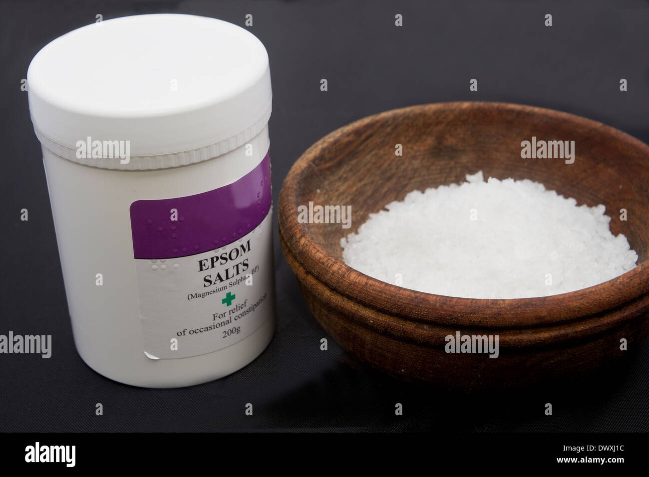 container of Epsom Salts - Stock Image