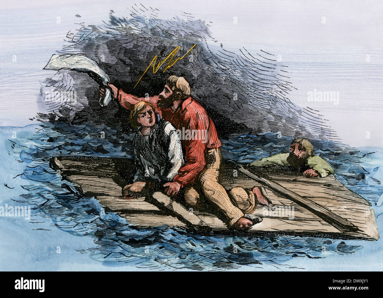Victims of the SS Central America, wrecked in a hurricane, 1857. Hand-colored woodcut - Stock Image