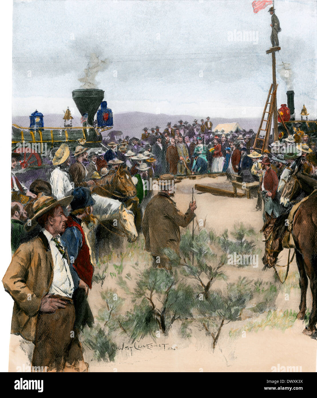 Last spike driven for the transcontinental railroad in Utah, 1869. Hand-colored woodcut - Stock Image