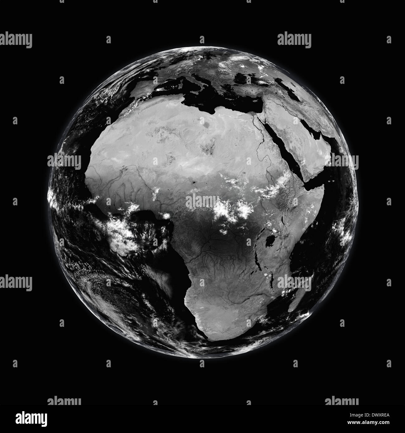 Africa on black planet Earth isolated on black background. Elements of this image furnished by NASA. - Stock Image