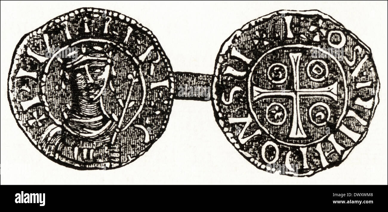 Silver penny of Stephen 12th Century King of England. Victorian woodcut circa 1845 - Stock Image