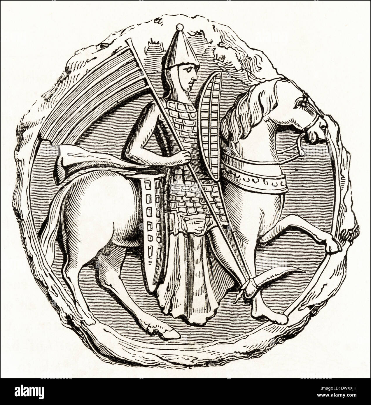 Seal of Richard Constable of Chester in the time of Stephen 12th Century King of England. Victorian woodcut circa Stock Photo