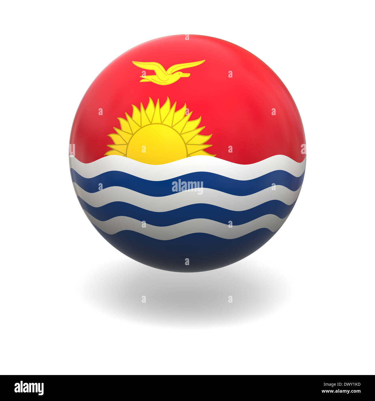 National flag of Kiribati on sphere isolated on white background - Stock Image