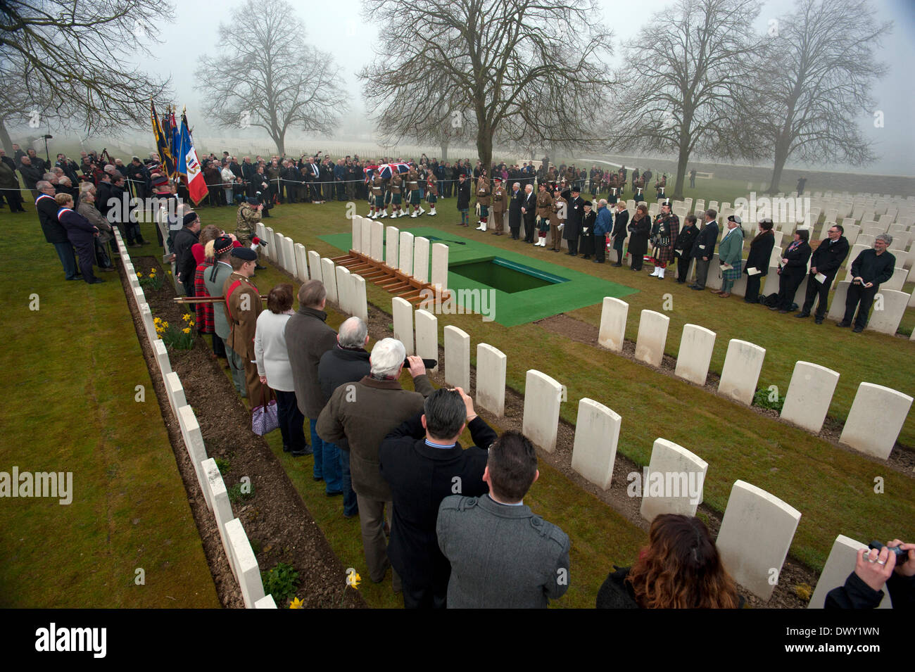 Loos, France. 14 March 2014. First World War Soldiers re-interred. Loos British cemetery, Loos in Northern France. - Stock Image
