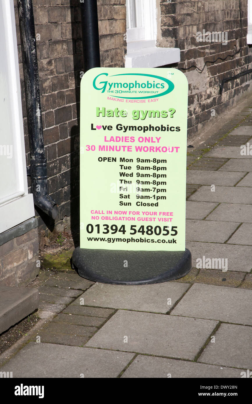 Gymophobics sign for Ladies exercise sessions, Woodbridge, Suffolk, England - Stock Image