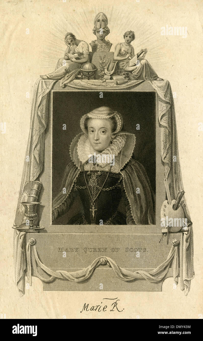 1829 antique engraving, Mary, Queen of Scots. - Stock Image