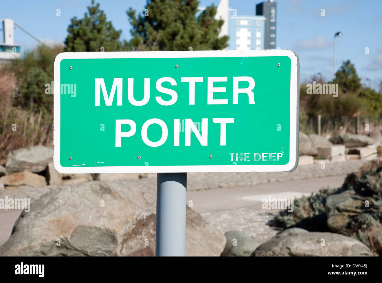Muster point sign Hull East Yorkshire England UK United Kingdom GB Great Britain - Stock Image