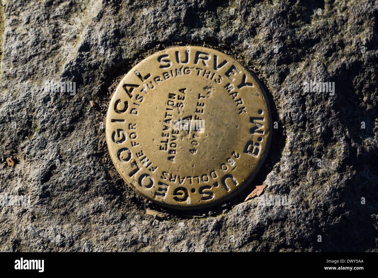 US Geological Survey Marker. Hawaii Volcanoes National Park, Big Island, Hawaii, USA. - Stock Image