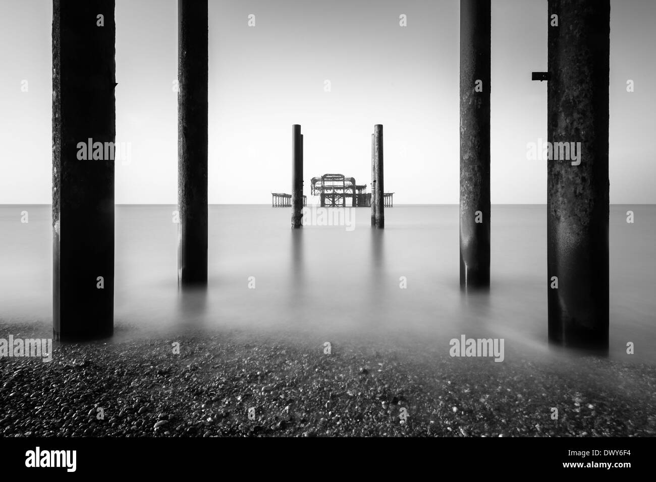 Old Pavillion or Pier, Brighton Beach - Stock Image