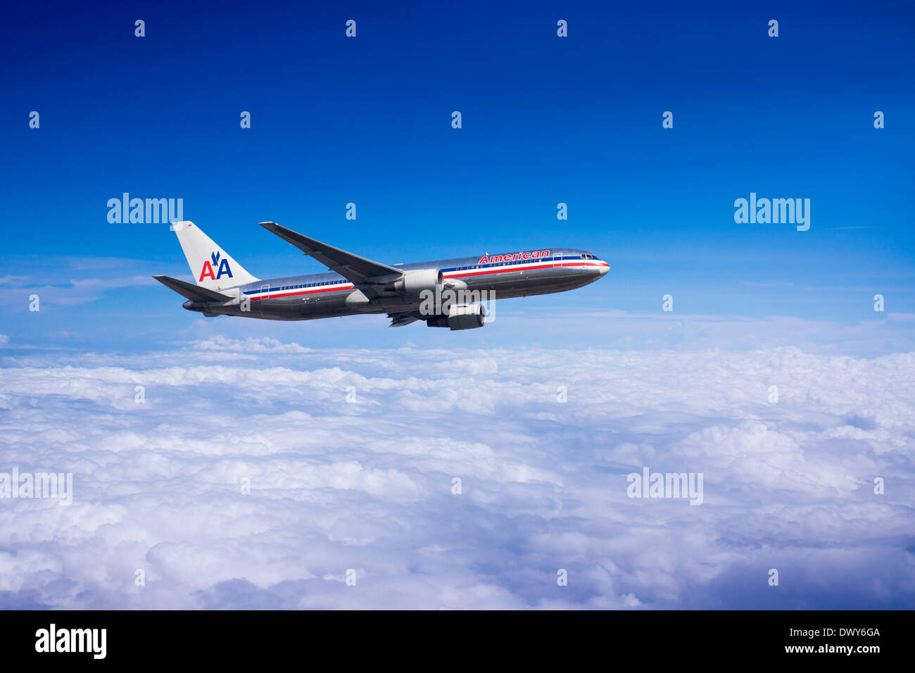 American Airlines Boeing 767-323 (ER) in flight. (Photomontage) - Stock Image