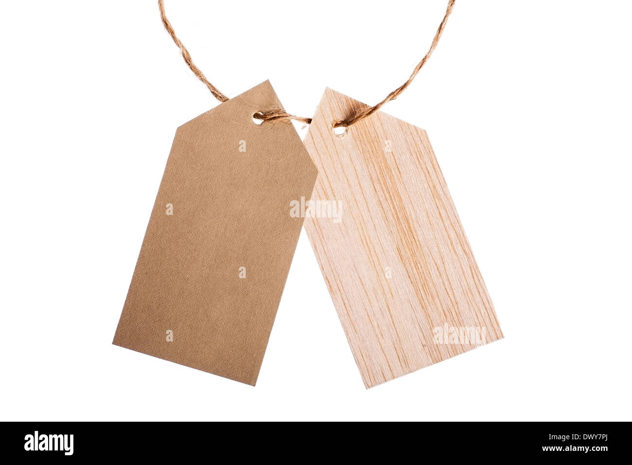 Color shot of two tags with a rope, isolated on white - Stock Image