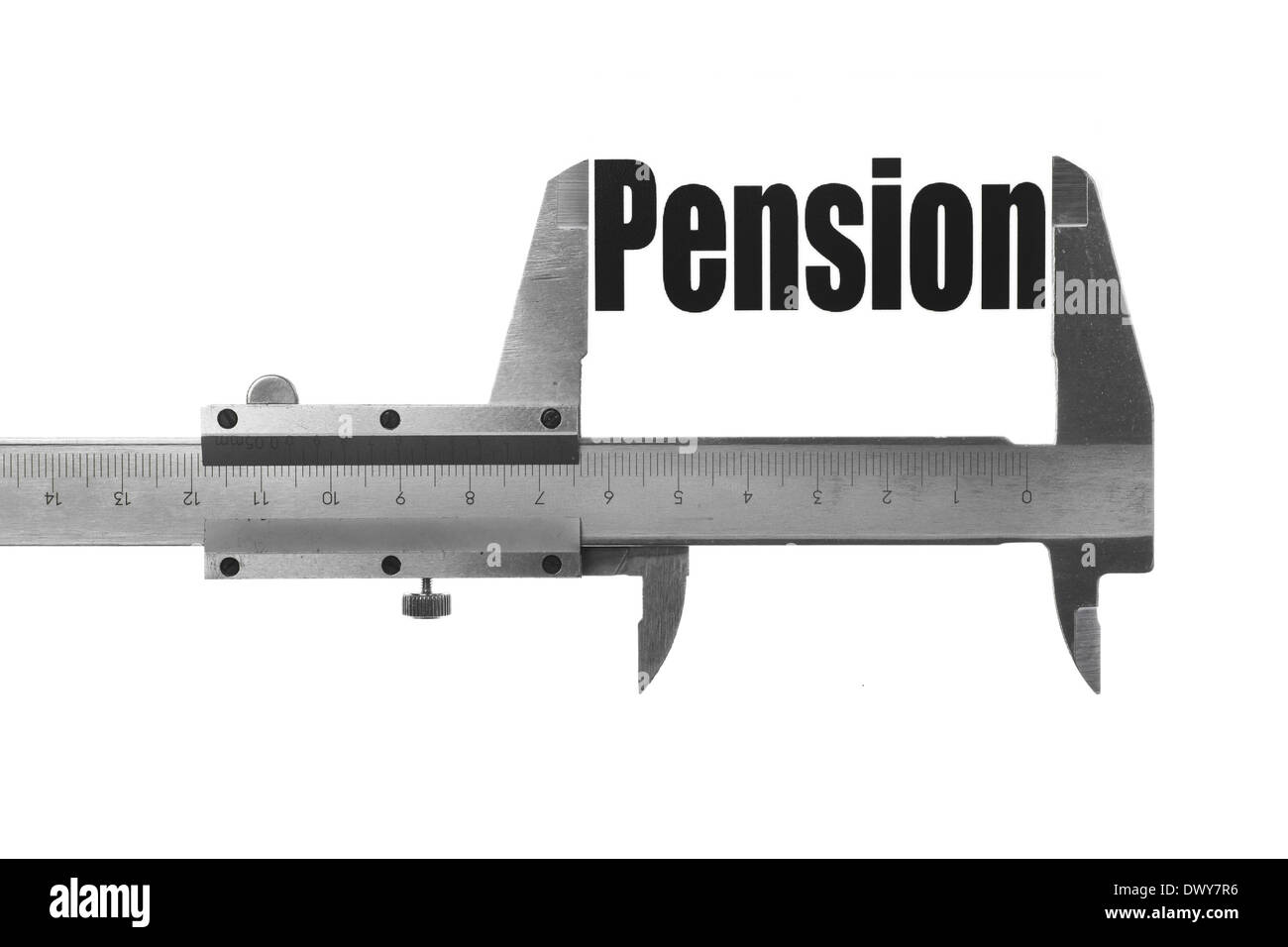 Close up shot of a caliper measuring the word 'Pension' - Stock Image