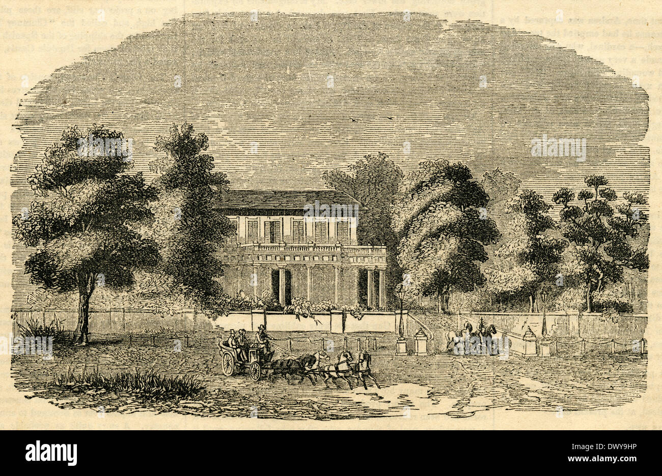 1854 engraving, House of the Dutch Resident at Sourabaya in Java, Indonesia. - Stock Image