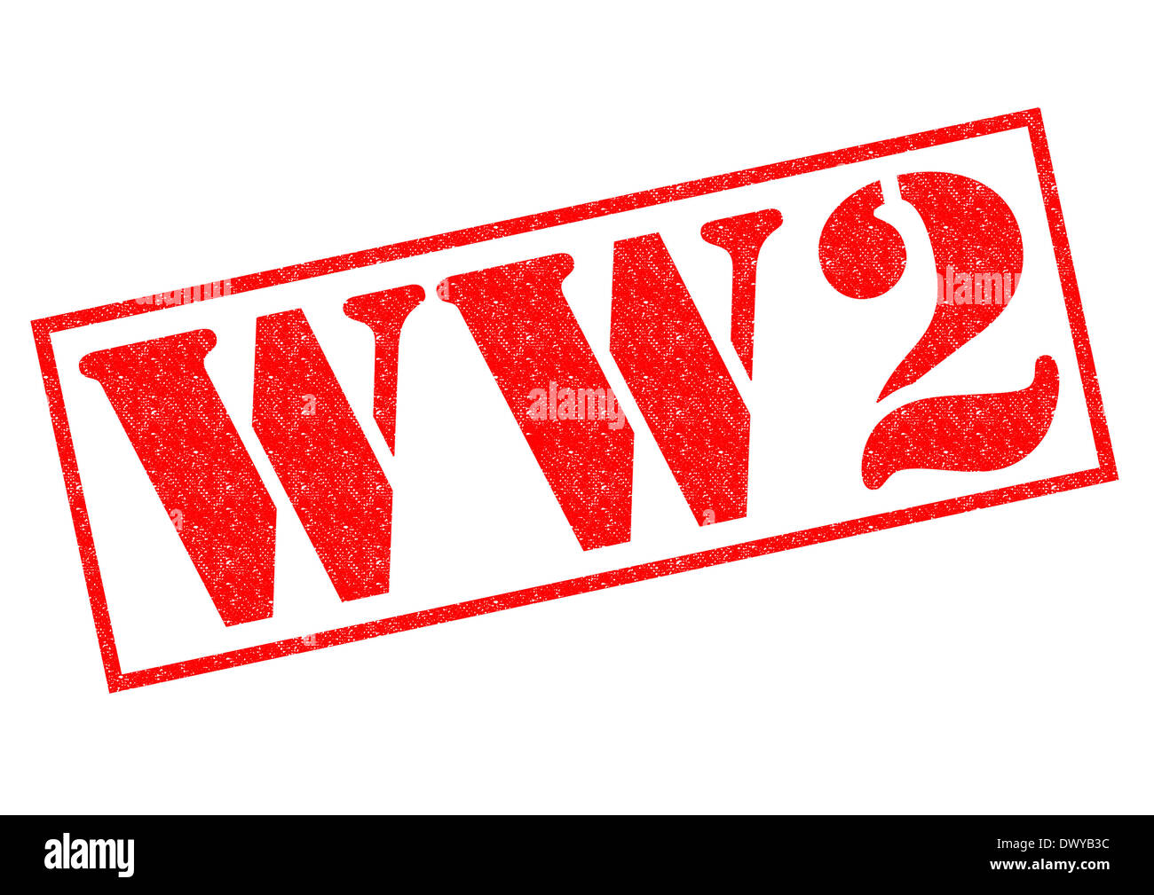 WORLD WAR 2 red Rubber Stamp over a white background. Stock Photo