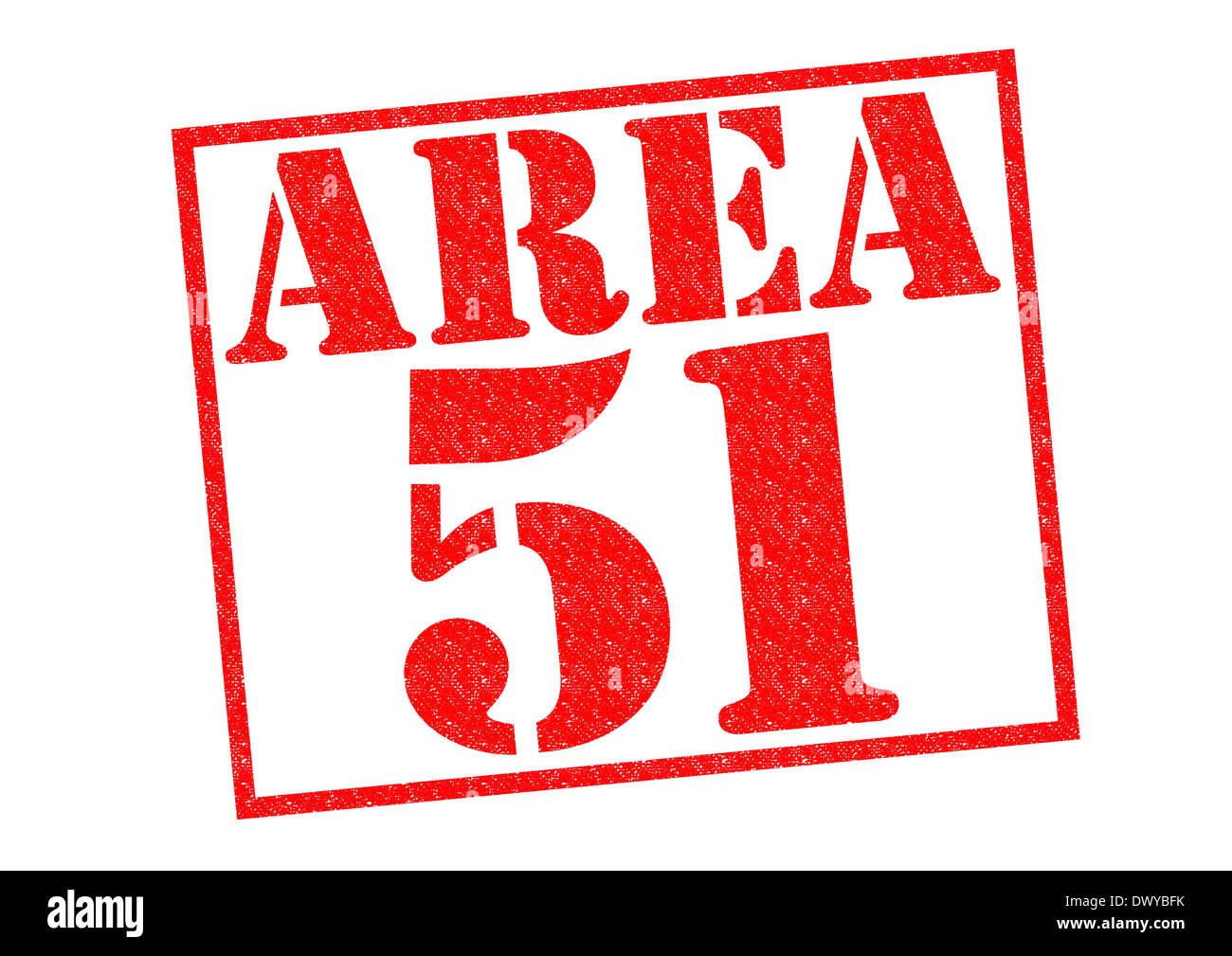 AREA 51 red Rubber Stamp over a white background. - Stock Image