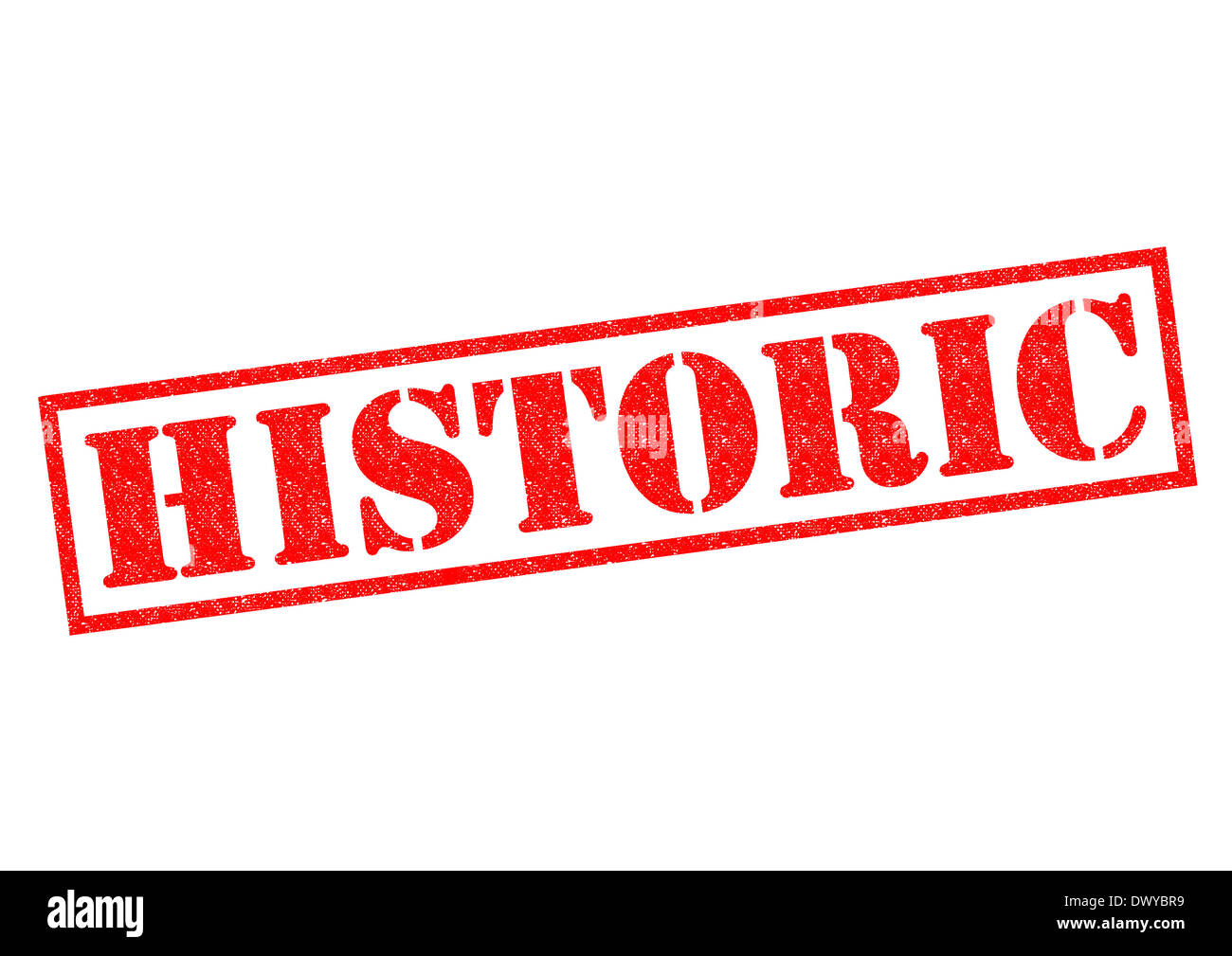 HISTORIC red Rubber Stamp over a white background. - Stock Image
