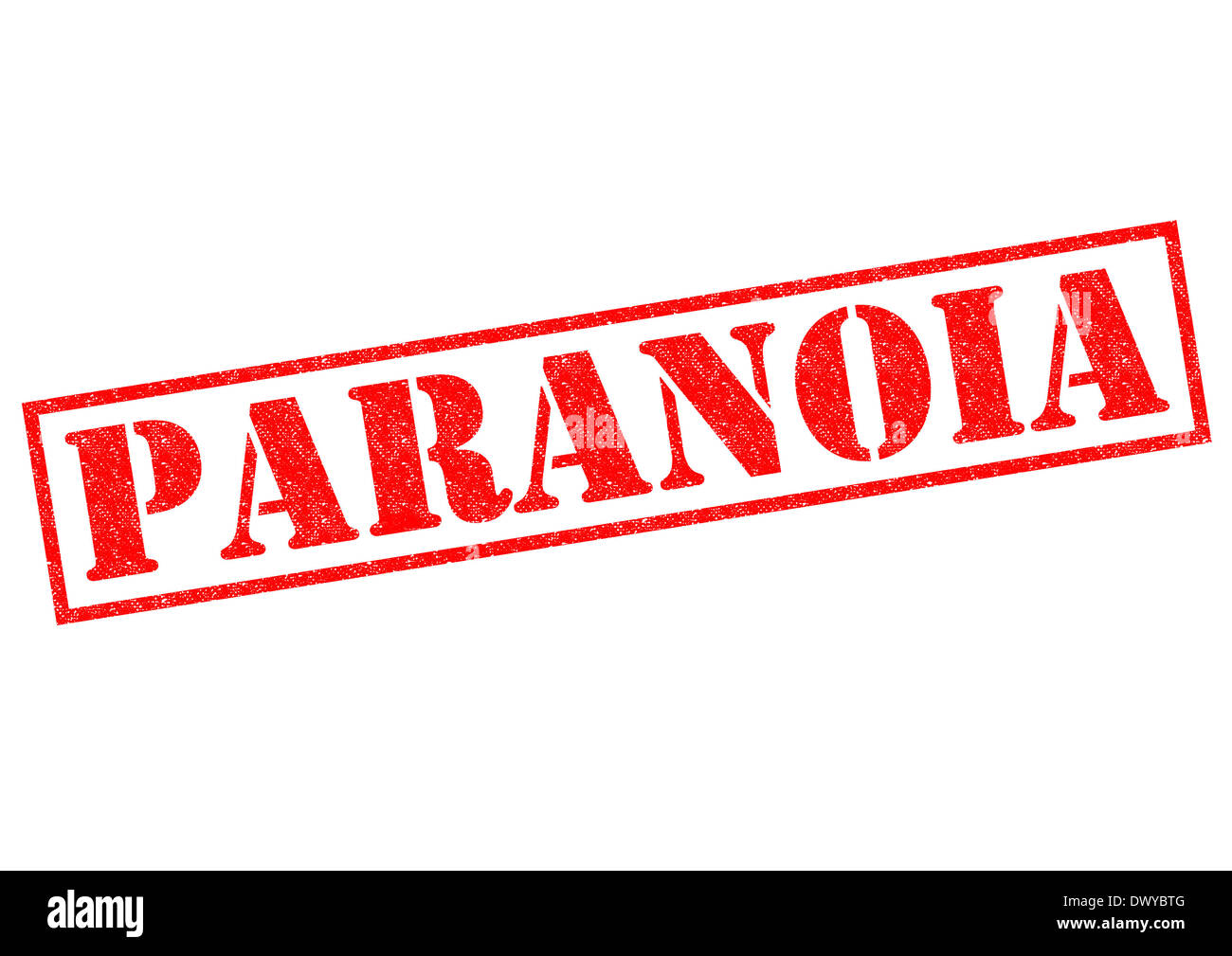 PARANOIA red Rubber Stamp over a white background. - Stock Image