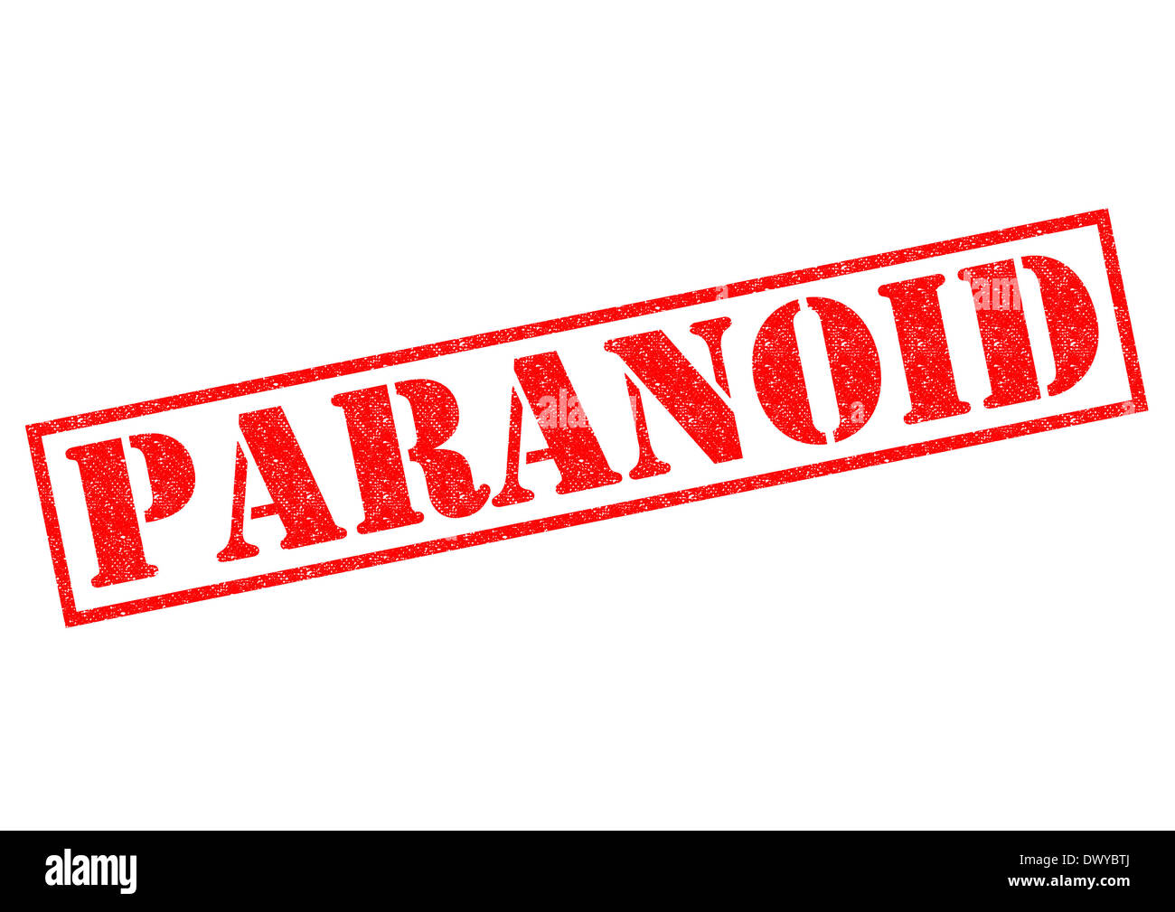 PARANOID red Rubber Stamp over a white background. - Stock Image