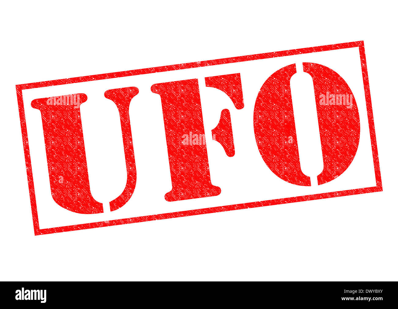 UFO red Rubber Stamp over a white background. - Stock Image
