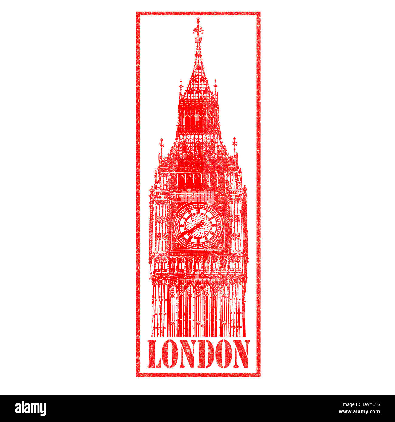 Big Ben/London red rubber Stamp. - Stock Image