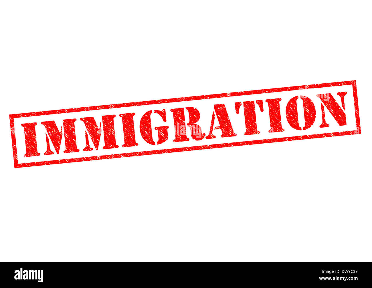 IMMIGRATION red Rubber Stamp over a white background. Stock Photo
