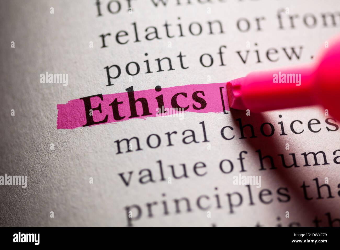 Fake Dictionary, definition of the word Ethics. - Stock Image