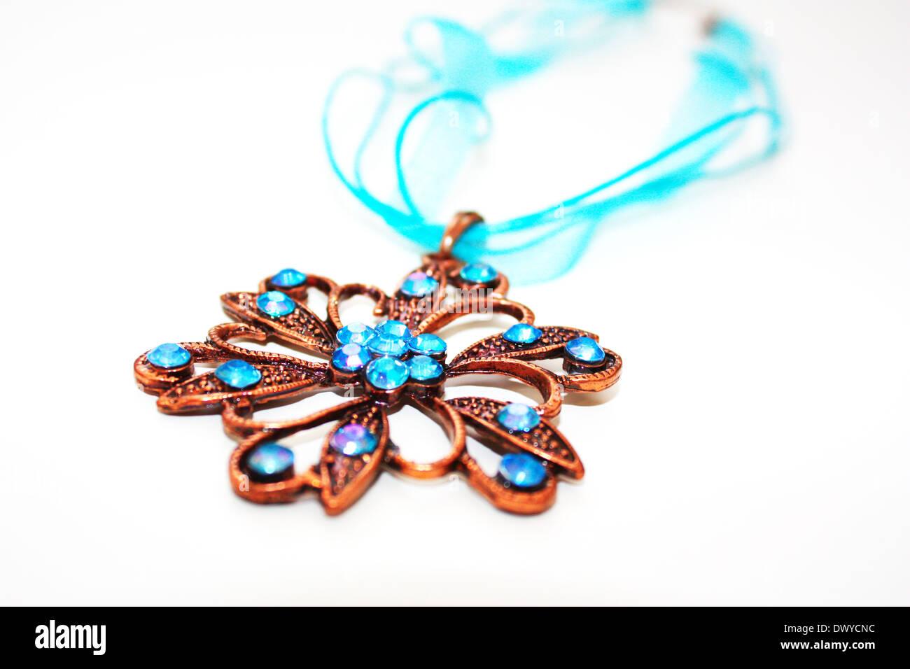 Colorful gem stones necklace Stock Photo