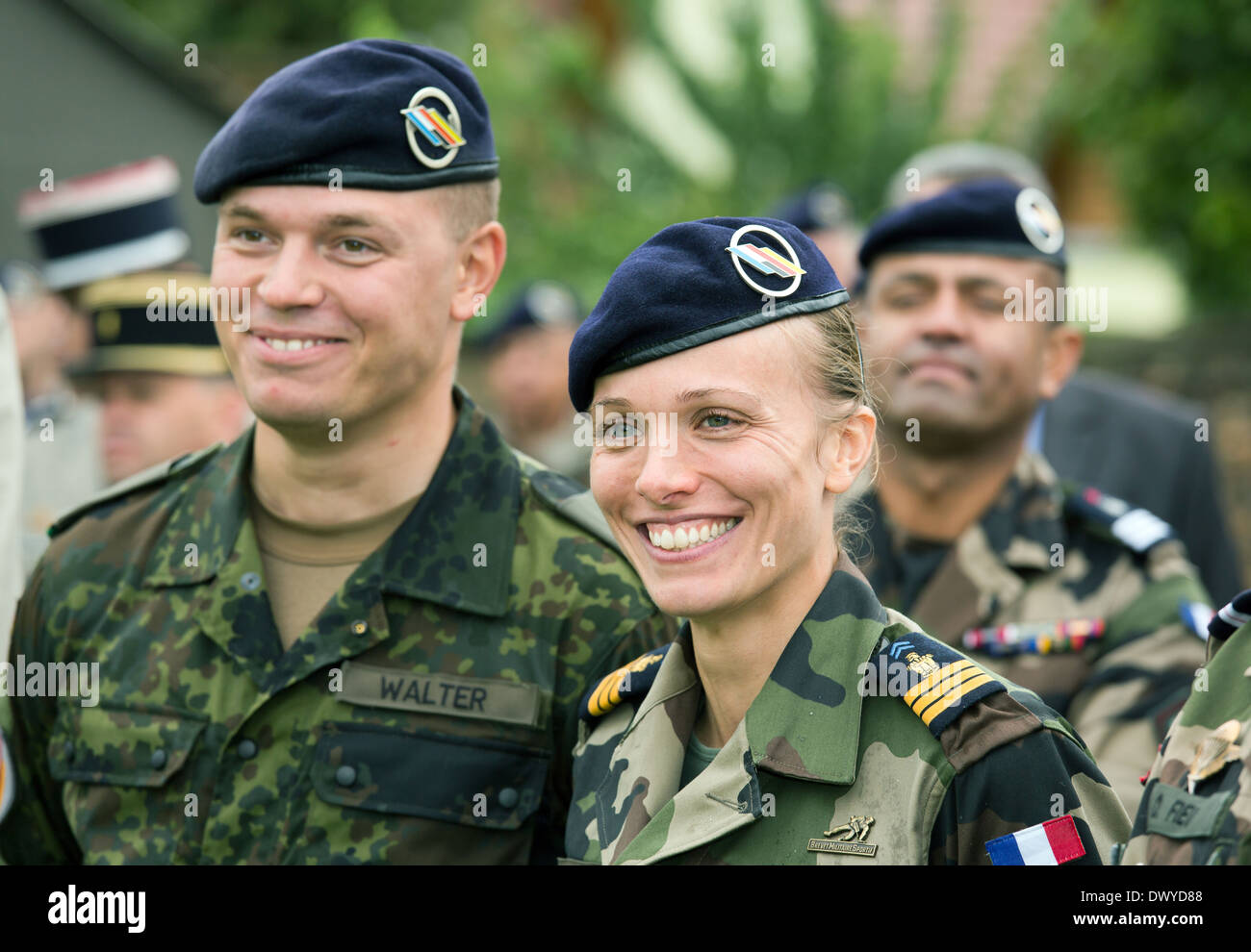 Breisach am Rhein, Germany, a German Army soldier and a french soldier - Stock Image