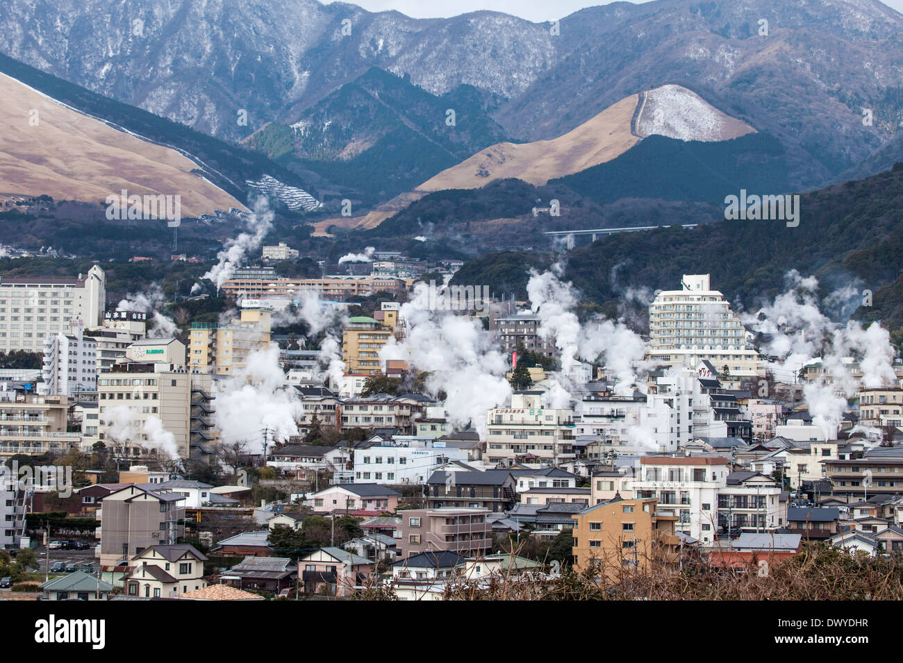 Steam Rising from Hot Spring Sources in the Town of Yufuin, Yufu, Oita Prefecture, Japan - Stock Image