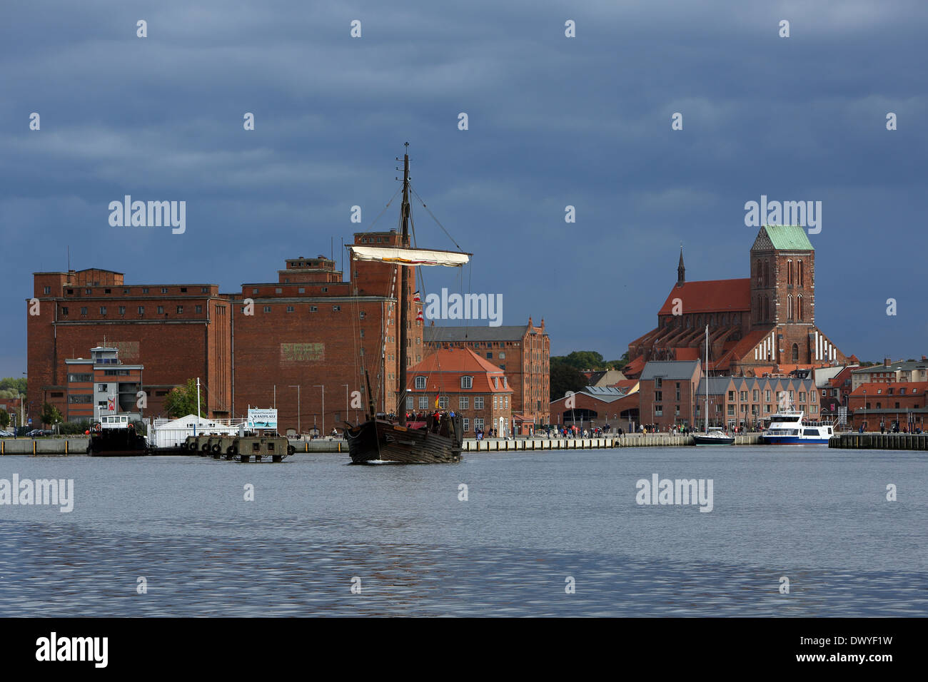 Wismar, Germany, overlooking the harbor and the Church of Saint Nicholas - Stock Image
