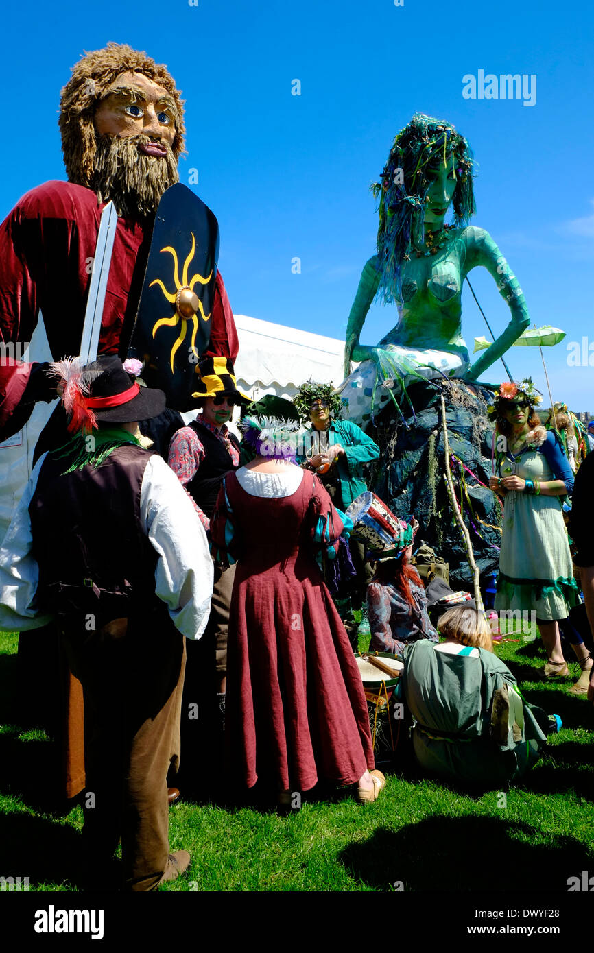 Giants at the traditional Jack in the Green Hastings May Day parade, East Sussex, England, UK, GB - Stock Image