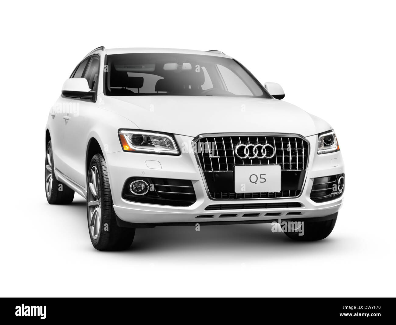 2014 Audi Q5 TDI Quattro SUV. Isolated car on white background with clipping path - Stock Image