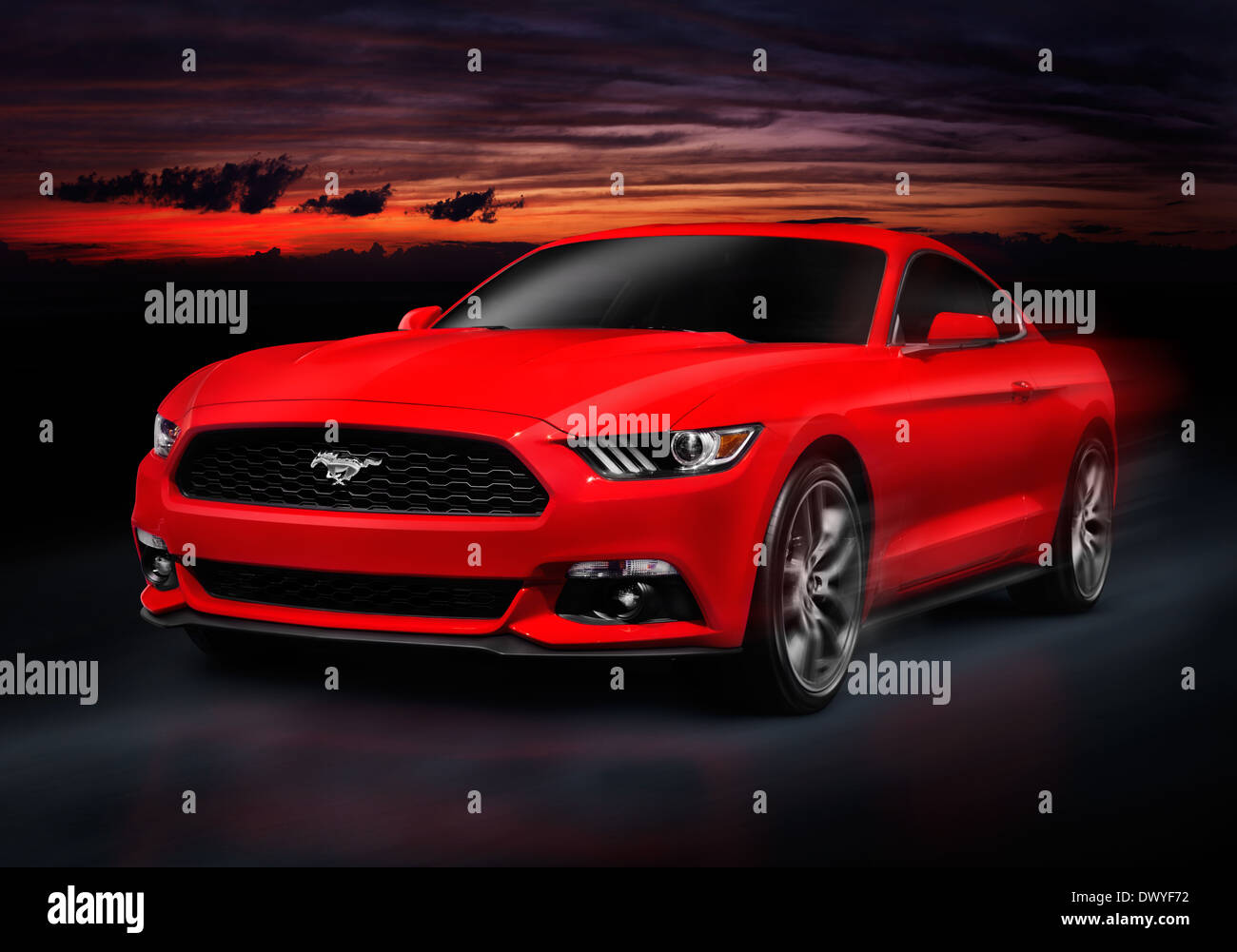 Red 2015 Ford Mustang sports car racing on a road at night - Stock Image