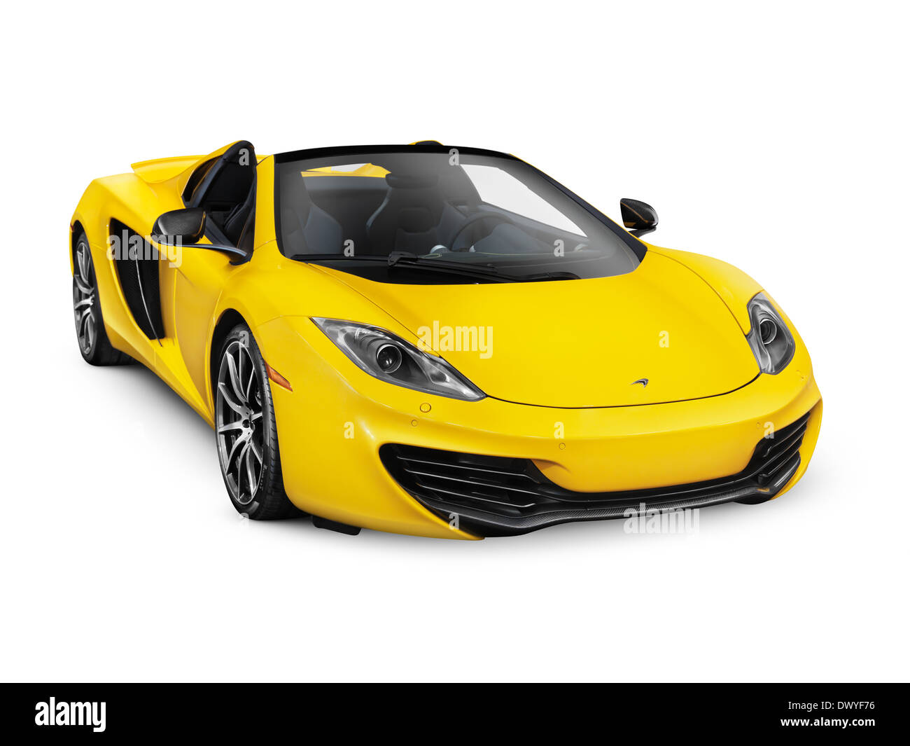 Good Yellow 2014 McLaren MP4 12C Convertible Sports Car Isolated On White  Background With Clipping Path