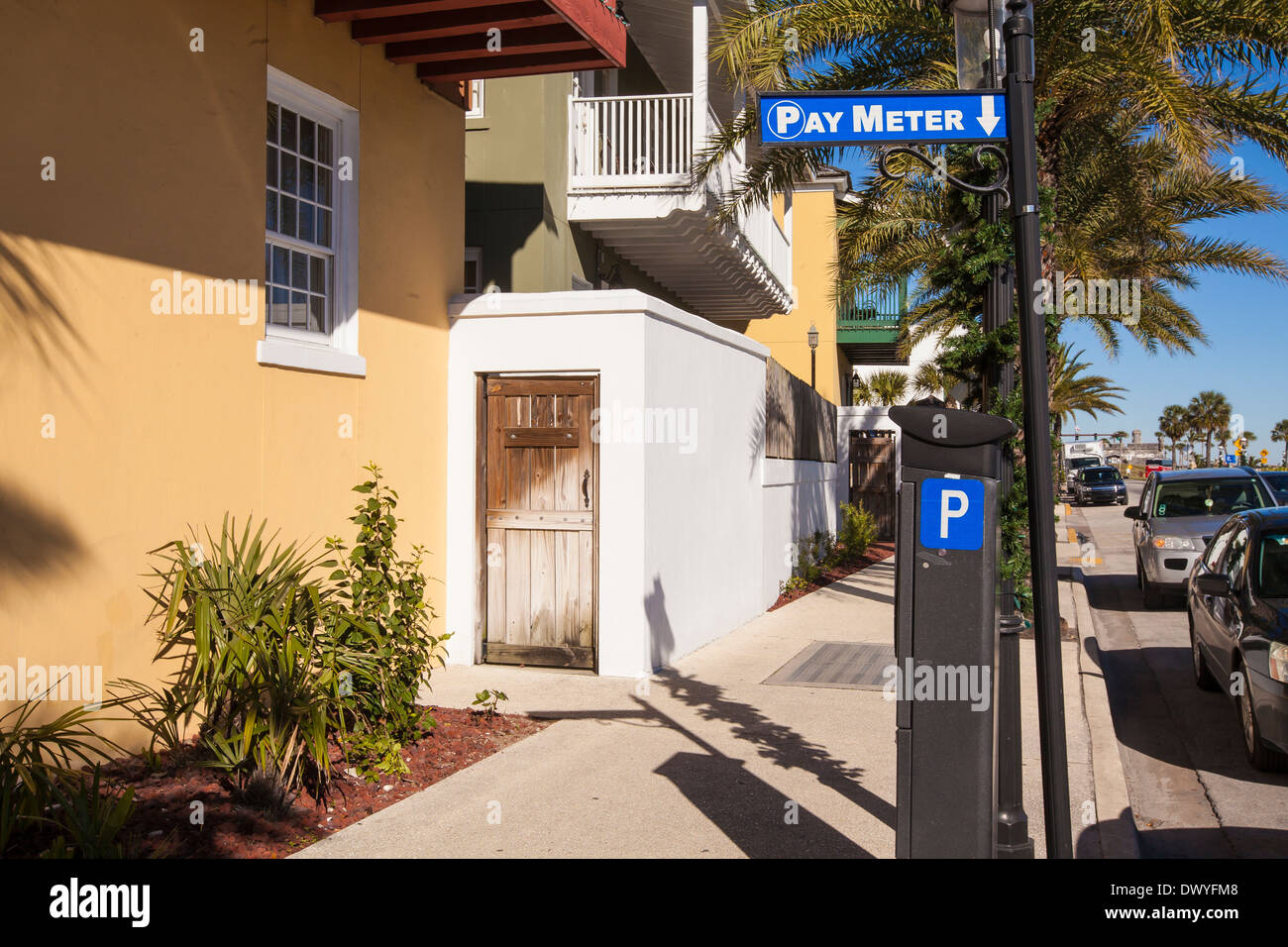 A parking meter is pictured in St. Augustine, Florida - Stock Image