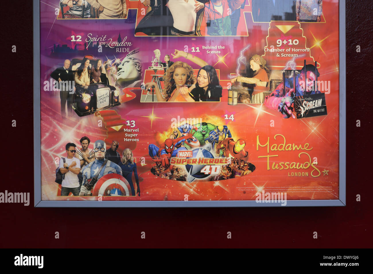 Poster outside Madame Tussaud's wax works museum in central London, advertising Marvel superheroes at the tourist attraction. - Stock Image