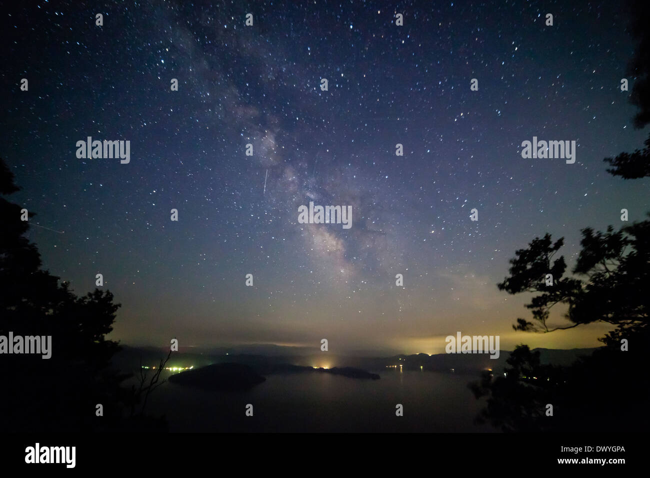 Night Sky Filled with Stars, Lake Towada, Towada, Aomori Prefecture, Japan - Stock Image