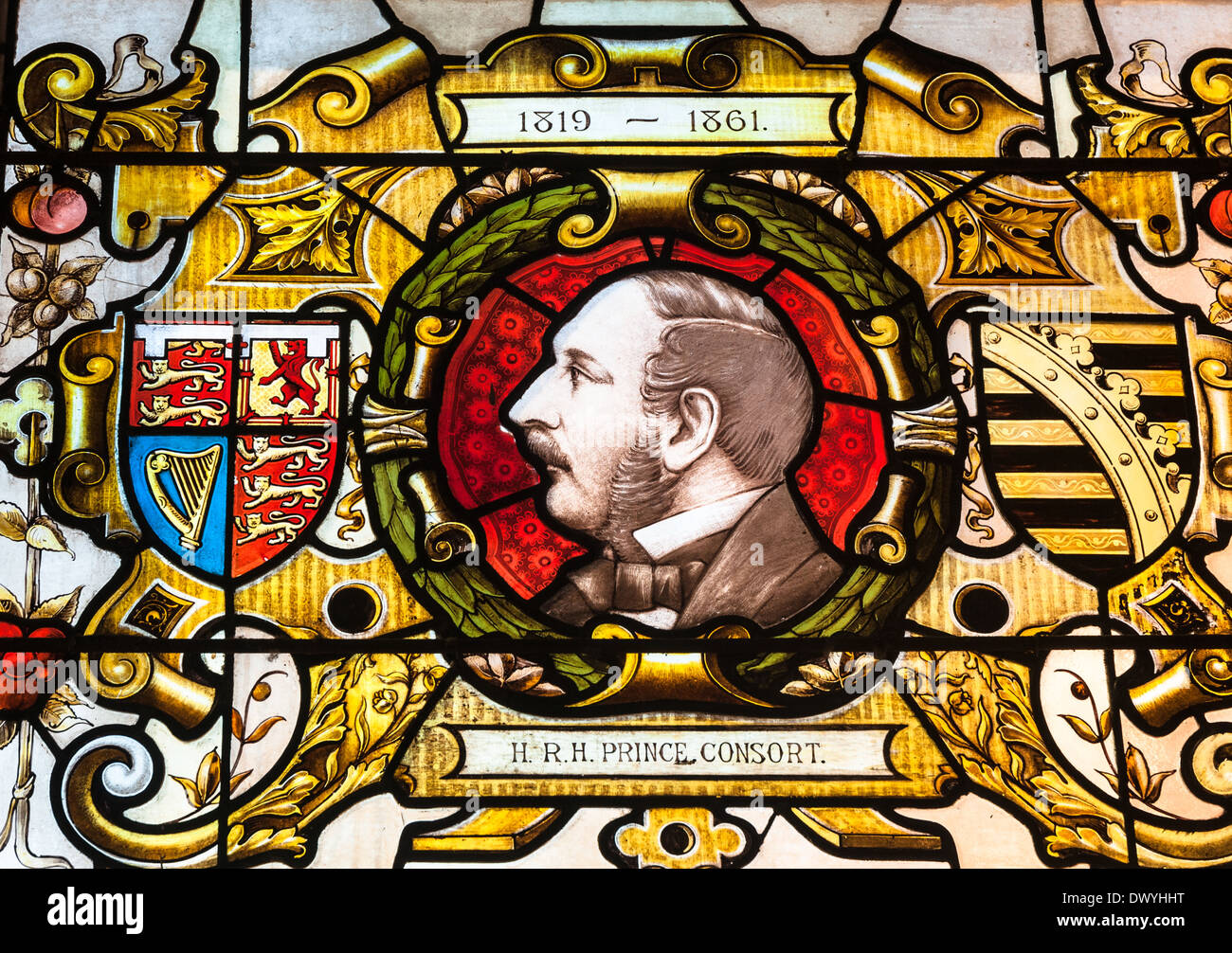 Prince Albert of Saxe-Coburg and Gotha portrait on stained glass. Stock Photo