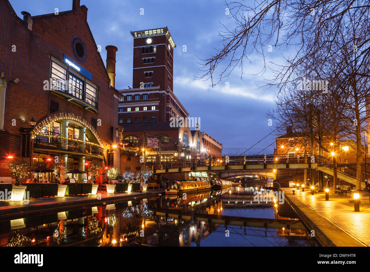 Brindley Place and the Birmingham Canal, Birmingham - Stock Image